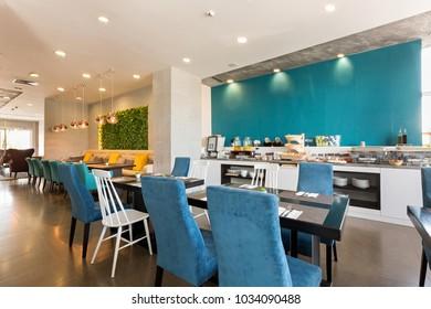 Hotel breakfast, buffet table, restaurant interior