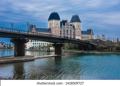 hotel and the bridge across the river near huis ten bosch, nagasaki
