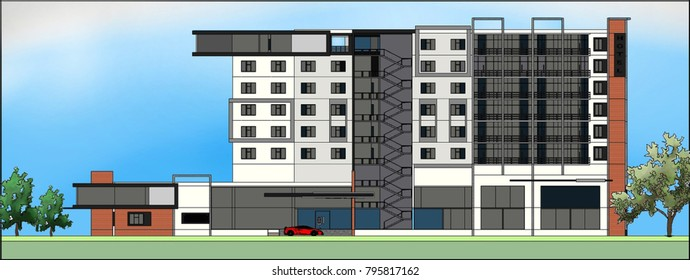 hotel building 3D Illustration