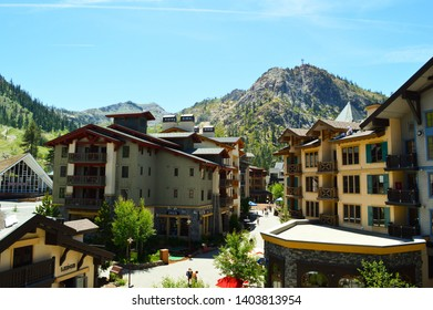 hotel building on the California mountain of tahoe at the summer