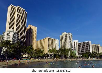 hotel buildings along the beach in Waikiki, Hawaii