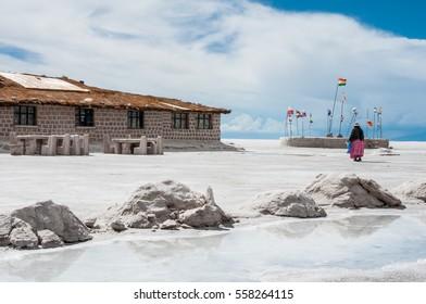 Hotel built of salt blocks, Uyuni salt flat, Bolivia
