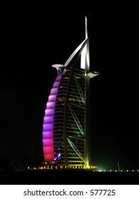 hotel burj al arab side during the night