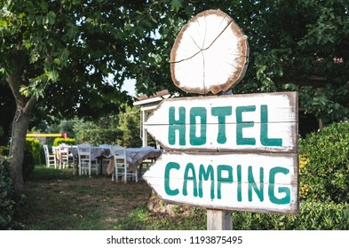 Hotel camping wooden signboard