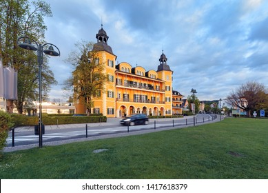Hotel castle in Velden at Worthersee in early morning. Austria Europe
