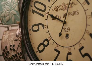 Hotel clock shot at close up. wall clock