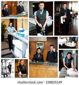 Hotel collage. Housekeeping staff at work.