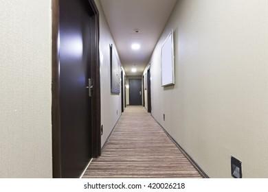 Hotel corridor in the evening