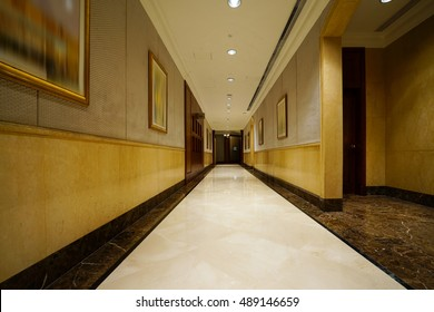 Hotel corridor and Lobby.