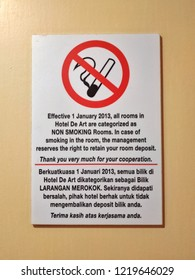 Hotel de Art, Malaysia - October, 2018: The non smoking sign in every room of Hotel de Art as the reminder for the guest's.