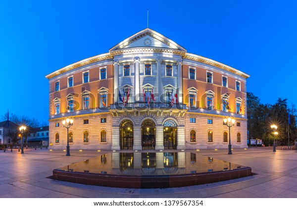 The Hotel de Ville or Town Hall during morning blue hour in old city of Annecy, Venice of the Alps, France