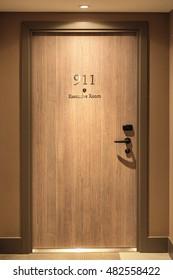 Hotel door number, close up image