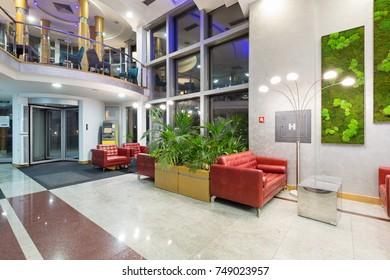Hotel entrance with revolving door