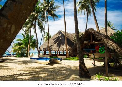 Hotel house at tropical island resort, Maldives