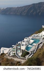 hotel in Imerovigli santorini with a wonderful pool