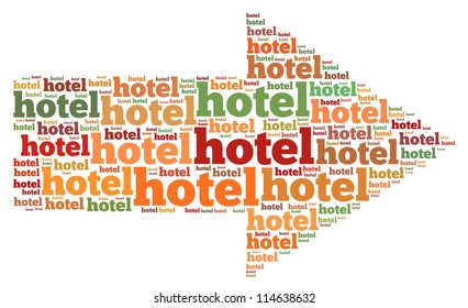 hotel info-text graphics and arrangement concept on black background (word cloud)