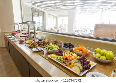 Hotel interior, buffet table, dessert, all inclusive