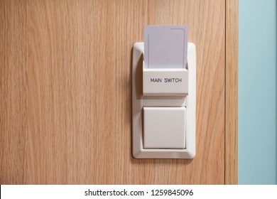 Hotel key card on main switch for enable the electric circuit