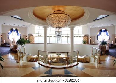 Hotel lobby with great round chandelier