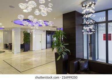 Hotel lobby hall interior