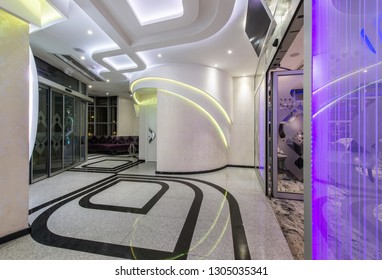 Hotel lobby interior with led lightening