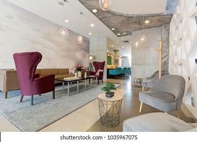 Hotel lobby, lounge cafe