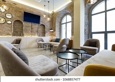 Hotel lobby lounge cafe interior