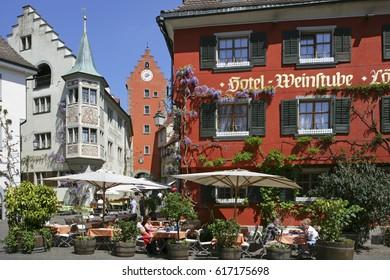 Hotel Loewen in Meersburg on Lake Constance, Baden-Wurttemberg, Germany, Europe, 07. May 2008