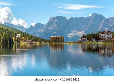 Hotel Miralago on Lake Misurina, Dolomites, Province of Bolzano-Bozen, Italy
