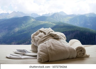 Hotel with mountain view, spa, bathrobe, towels