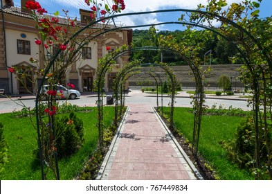 Hotel in the mountains of Sochi,Arch with a curling rose, Russia, Sochi, June 19, 2016
