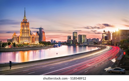 Hotel on the bank of the Moskva river in the evening light