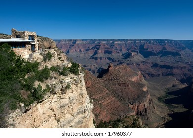 Hotel on the Grand Canyon over blue sky