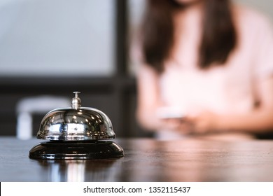 Hotel reception counter desk with service bell