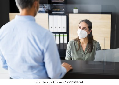 Hotel Reception Desk Counter With Face Mask