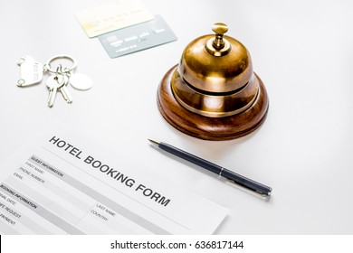 hotel reservation blank and ring on white background