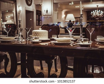 hotel restaurant table with food and dish and candles