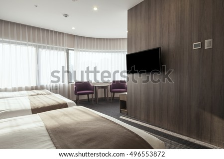 Hotel Room Bedroom Three Bed Curtain Stock Photo Edit Now