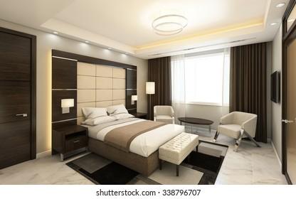 Hotel Room In Dark Wood Panels 3D Rendering