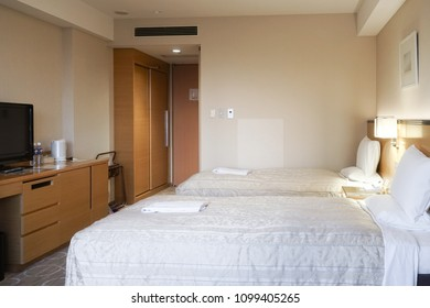 Hotel room. A room in a hotel with double bed