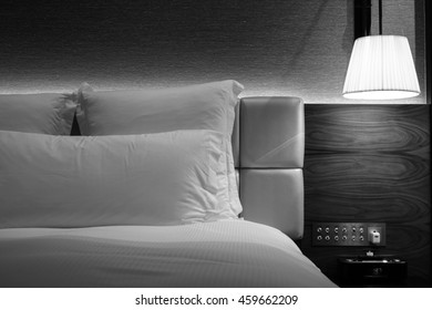 Hotel room Interior and bedroom icon.