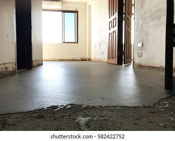 Hotel room interior renovation site making self-leveling floor prepare for new flooring materiel