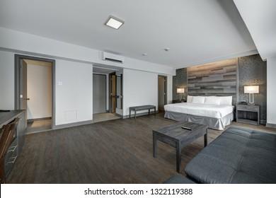Hotel room interior in scandinavian style