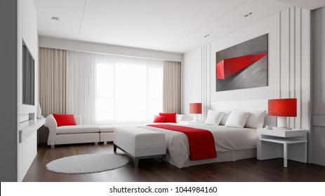 Hotel room with red and white color concept 3d rendering