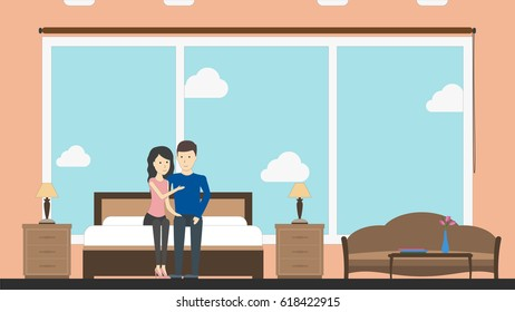 Hotel room service with host couple. Contemporary design. Hotel bedroom with bed, chair, lamp and window. Lux.