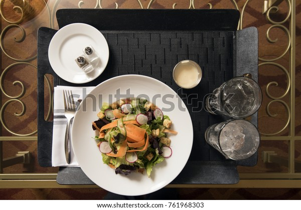 Hotel Room Service Tray Salad Water Stock Photo Edit Now 761968303