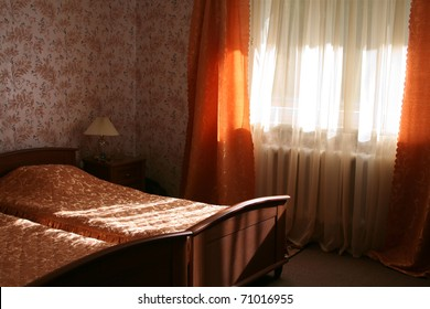 Hotel room with sunlight in the morning or in the daytime