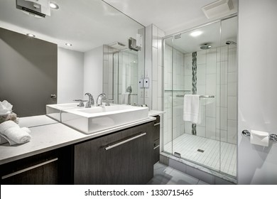 Hotel rooms and interiors with bathrooms and kitchenettes