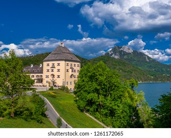 Hotel Schloss Fuschl castle, Lake Fuschlsee, Salzkammergut region, Salzburg, Austria, 09. May 2018