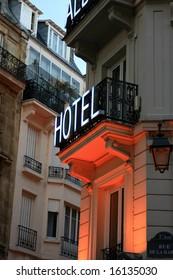 Hotel sign in Latin Quarter of Paris France.